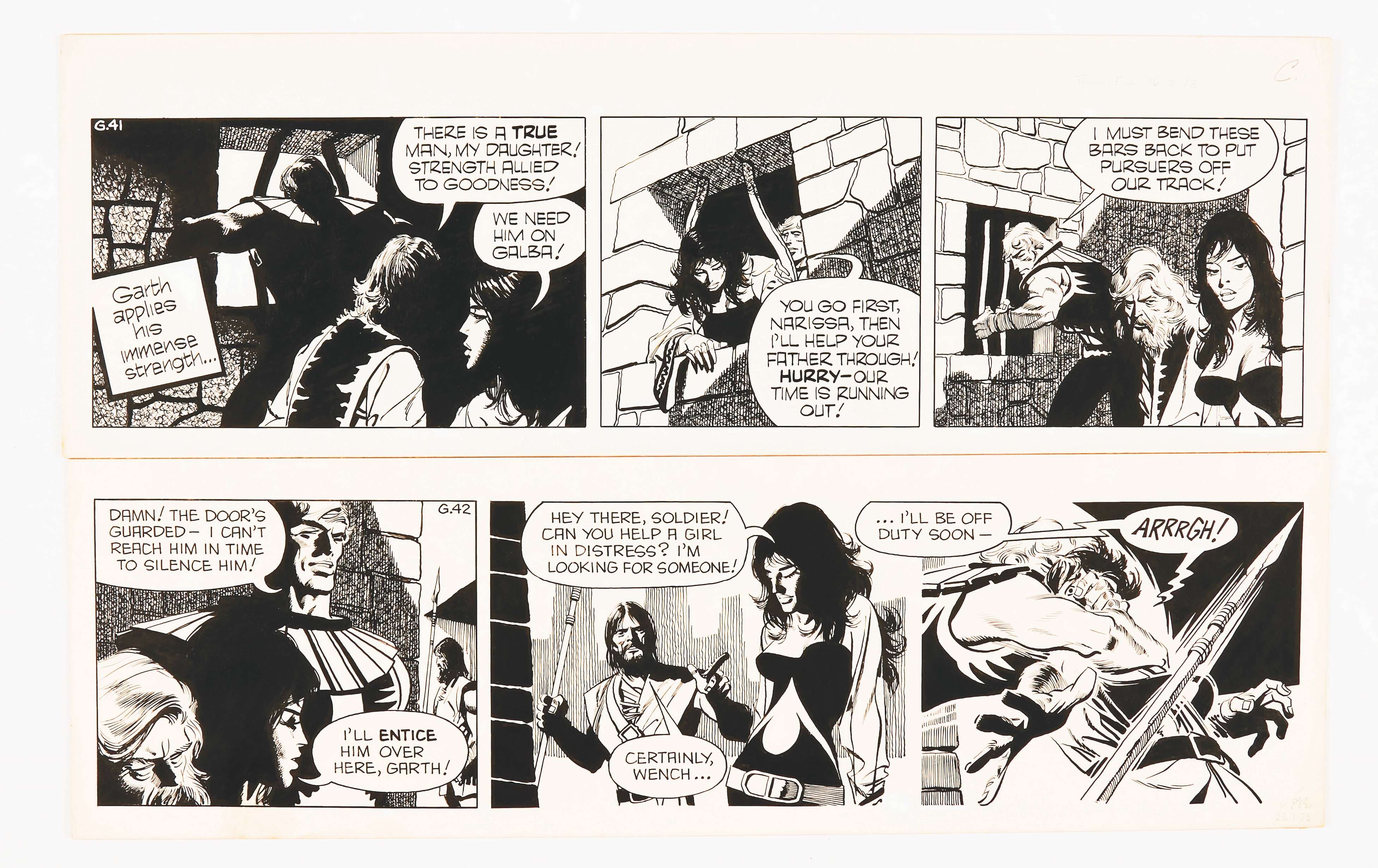 Garth: 'The Women of Galba' 2 original consecutive artworks (1973) by Frank Bellamy for the Daily