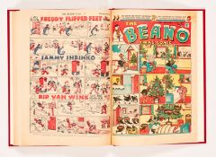 Beano (1947) 301-325. Complete year in bound volume. First Wavy Davy and his Navy by Dudley Watkins;