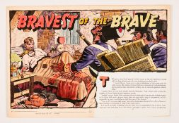 Bravest of the Brave original double-page artwork (1956) drawn and painted by Denis McLoughlin. From