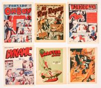 1940 Photogravure issues +: Oh Boy! No 5, Wonderman No 4, Ray Regan No 1 (Ron Embleton art), Dynamic