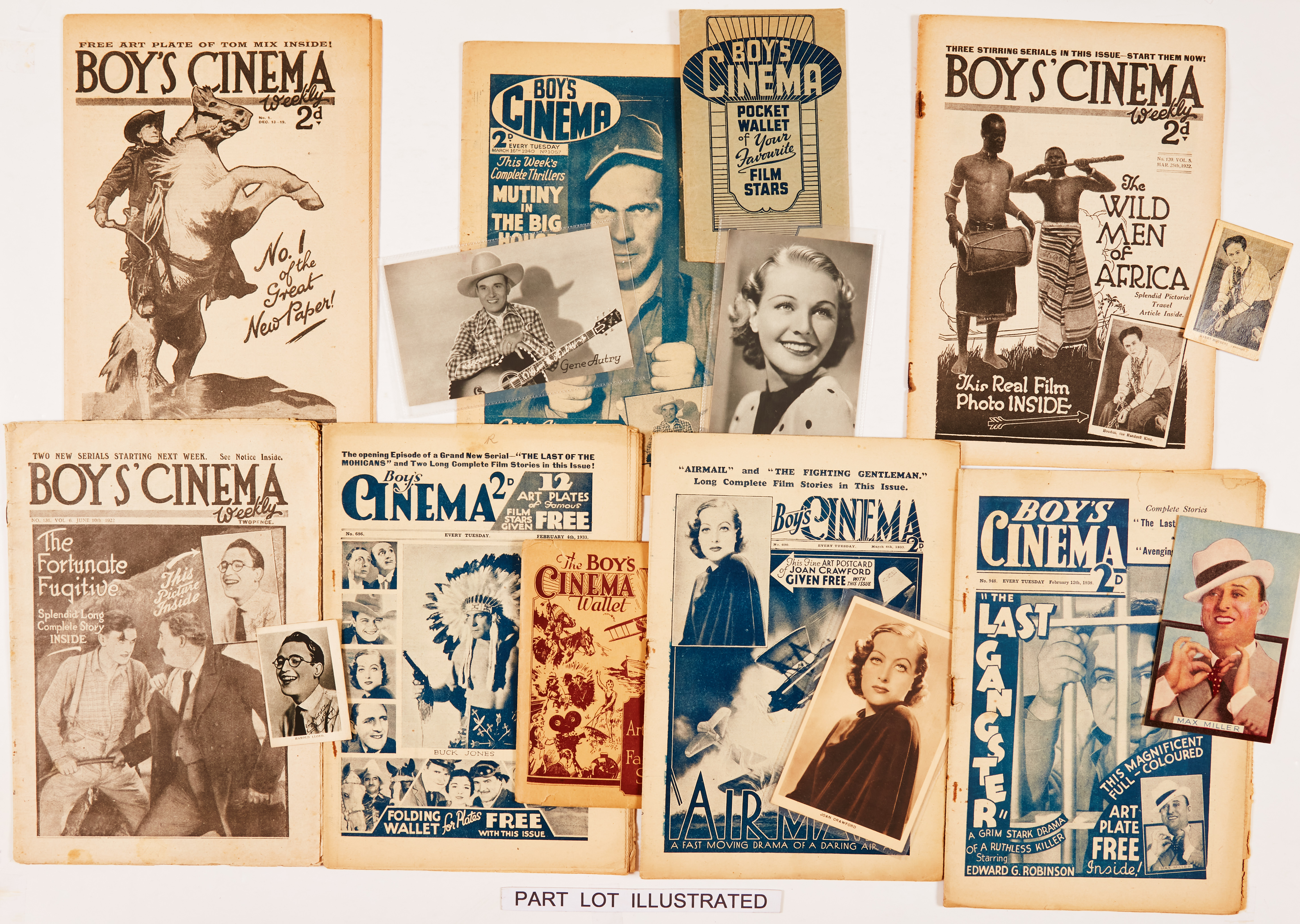 Boy's Cinema (1919-1940) No 1, 120, 131, 686, 690, 948, 1055-1057, 1059, 1060. (All with free gift