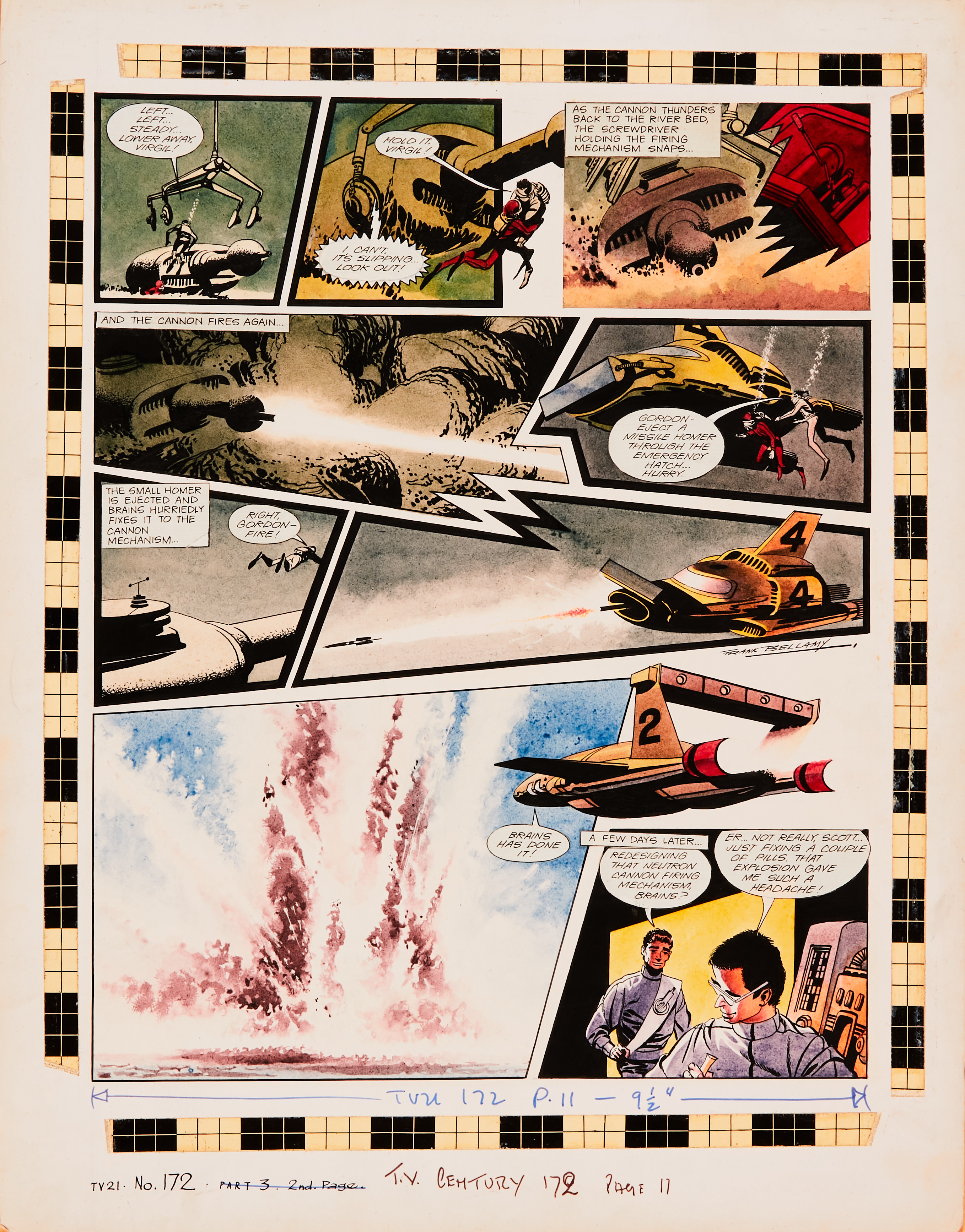 Thunderbirds original artwork (1968) drawn, painted and signed by Frank Bellamy for TV Century 21 No