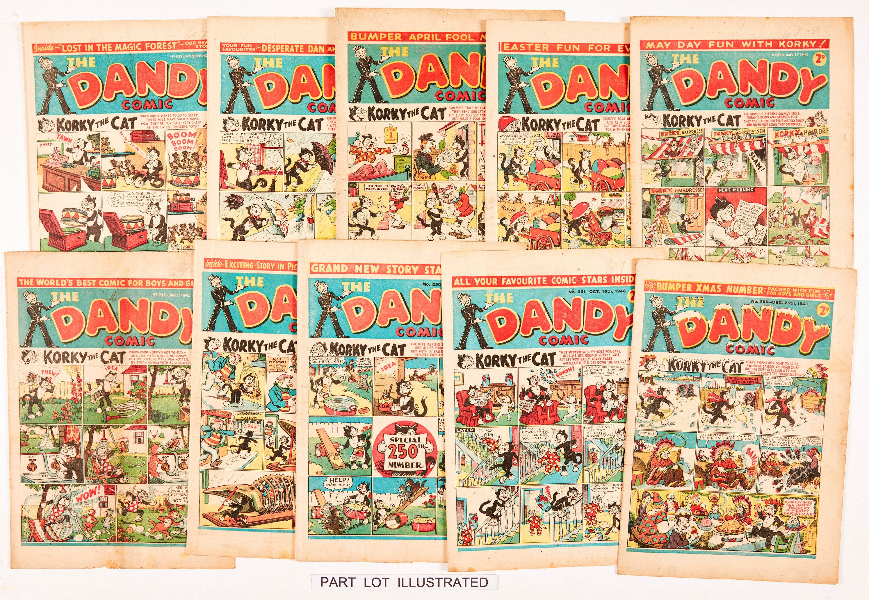 Dandy (1943) 231-256 Xmas. Near complete year of propaganda war issues, missing No 253. Including