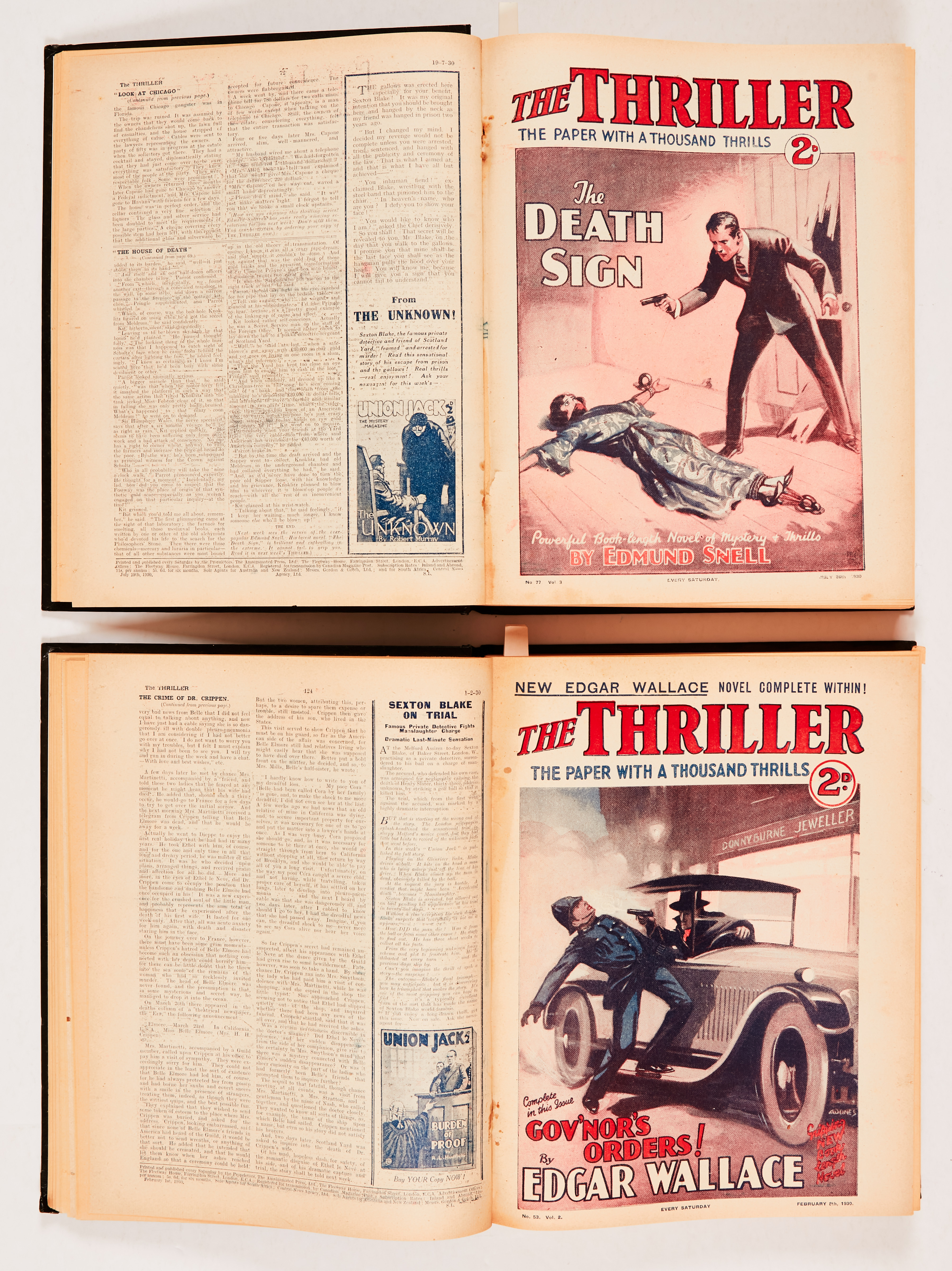 Thriller (1930) 48-99. Complete year in two bound volumes including stories by Edgar Wallace, Leslie