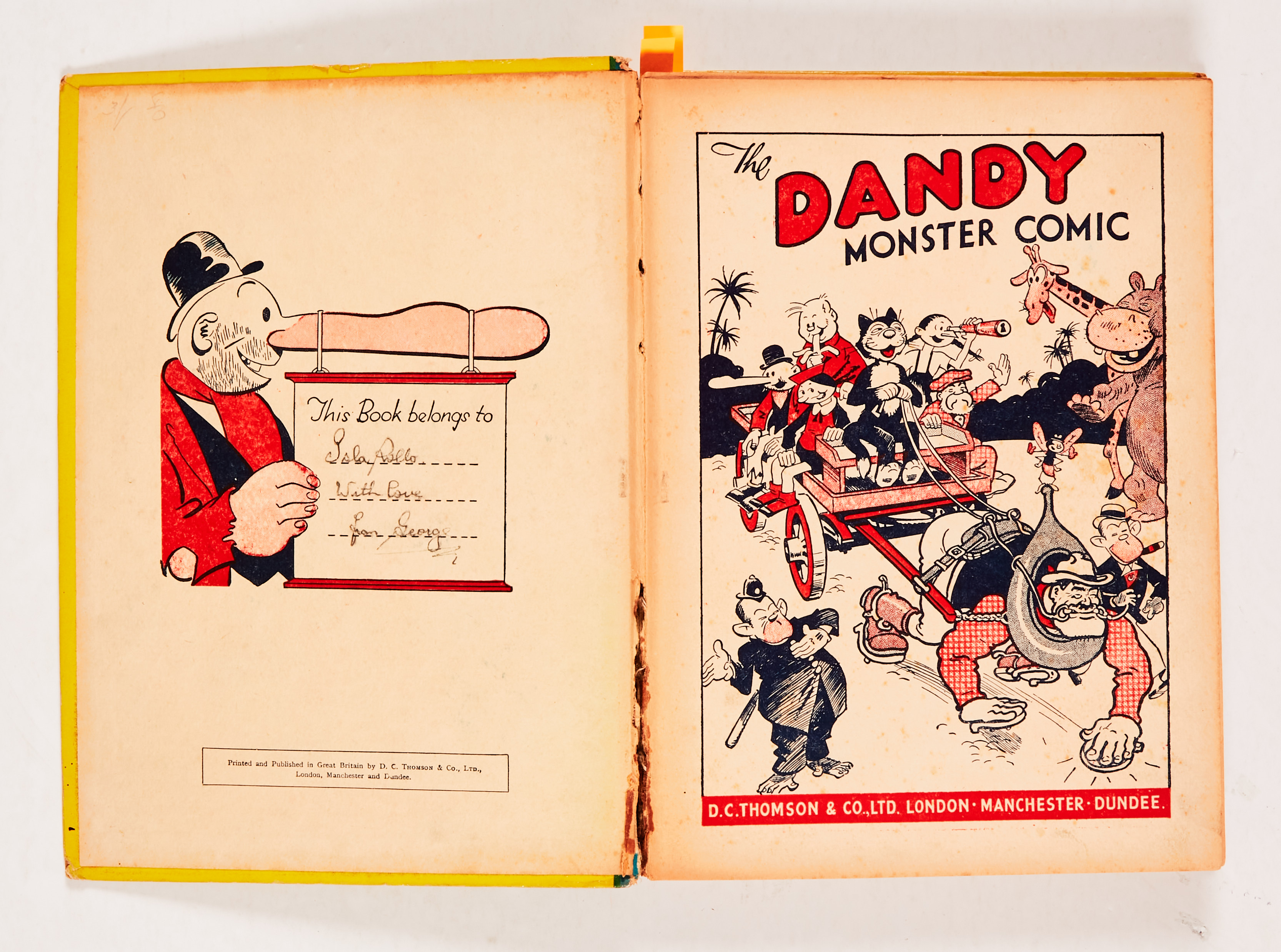 Dandy Monster Comic (1941). Korky leads the Marching Band. Bright boards, faded spine with some edge - Image 2 of 4