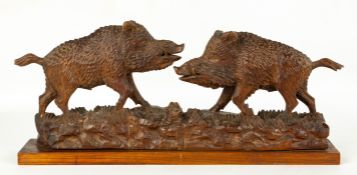 Carved Black Forest of Wild Boars