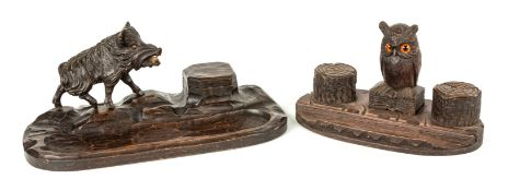 Two Carved Black Forest Desk Items
