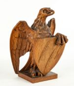 Carved Oak Eagle with Shield