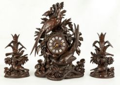 Carved Black Forest Shelf Clock and Pair of Candlesticks