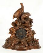 Carved Hunter's Black Forest Shelf Clock