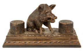 Carved Black Forest Wild Boar Desk Stand