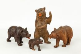 Four Carved Black Forest Bears