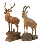 Carved Black Forest Stag & Mountain Ram