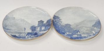Two large blue and white wall chargers oriental scenes.