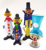Collection of four Murano glass clown figures.
