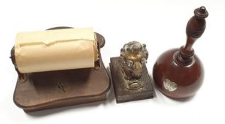 Mixed lot of collectables to include Antique lion torch, vintage musical toilet roll holder and