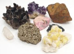 A collection of eight crystals to include Amethyst.