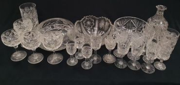 Box of mixed crystal glassware to include bowls and wine glasses.