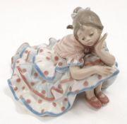 Lladro Model 5389 Deep in Thought flamingo girl in polka dot frock.