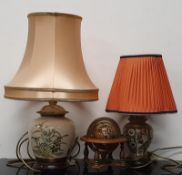 Two oriental table lamps together with a miniature wooden globe.