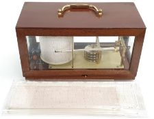 French teak cased barograph by Poitevin-Duault with spare graph papers.