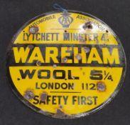 "Vintage AA enamel ""Wareham"" road sign."