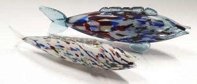 Two Murano glass fish.