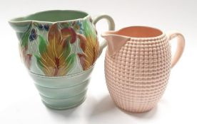 Large Clarice Cliff jug with relief pattern leaves design marked 41A together with another Clarice