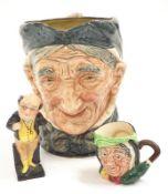 Doulton full-size character jug Grammy Doulton Miniature character jug sariy Grant and a Doulton