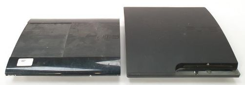 Sony PlayStation 3 Slim console together with Sony PlayStation 3 Super Slim console (REF WP20).
