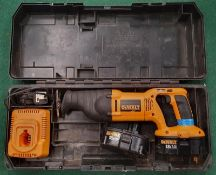 DeWalt DC380 cordless reciprocating saw in case with two batteries and charging station (WP38).