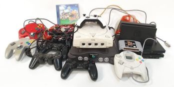 Collection of vintage gaming consoles, controllers etc (WP80).