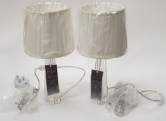"""Two Lipsy London """"Jasmine"""" table lamps with fabric shades as new (REF WP16)."""