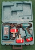 Makita 6271DWPE3 Cordless Driver Drill in case with two batteries and charging station (REF WP14).