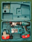 Makita 8391DWPE Cordless Hammer Driver Drill in case with two batteries and charging station (REF
