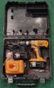 DeWalt DC988KA cordless power drill in case with two batteries and charging station (REF WP18).