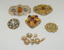 5 x Czech Crystal Filigree Brooches.