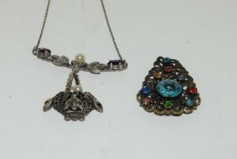 Art Deco Czech crystal necklace and dress clip.