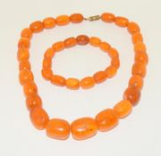 A Strand of Vintage Butterscotch Yellow Amber Beads, Weight 60g. Beads 13-22mm