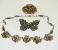 Czech crystal Filligree necklaces and 2 brooches.