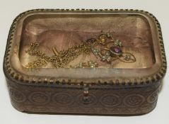 Vintage small Glass Top Jewellery Box Containing the 1910/205 Gold/Silver Colour Amethyst/Pearl