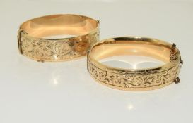 Two 9ct Gold Metal Core 1930s Bangles.