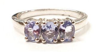 Ladies Silver 3 stone Amethyst ring.