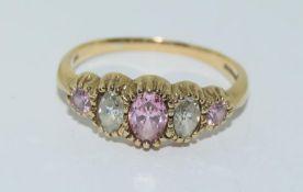 9ct Gold Semi Precious Stone Ring. Size R