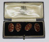 Cufflinks enamel on hallmarked silver boxed