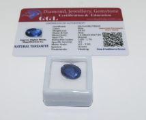 Natural Tanzanite Gemstone, 10.5ct with Certificate