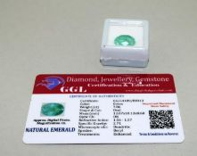 Natural Emerald Gemstone, 7.8ct with Certificate