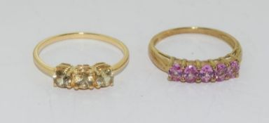 2 x 9ct Gold Rings. Size S & Q