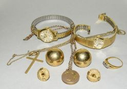 Qty of 18ct and 9ct Gold and other Jewellery, approx 16g