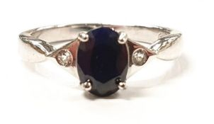 Ladies Silver Sapphire ring.